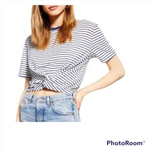 TopShop striped twist front cropped Crewneck tee shirt navy/white size 6 BNWOT